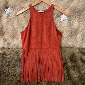 Bear Dance Rust Orange Fringe Tank Top